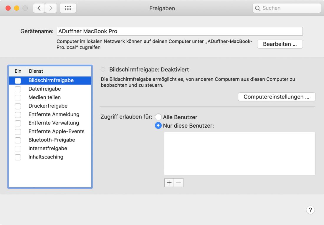 Screenshot des Freigabebildschirms eines Macs