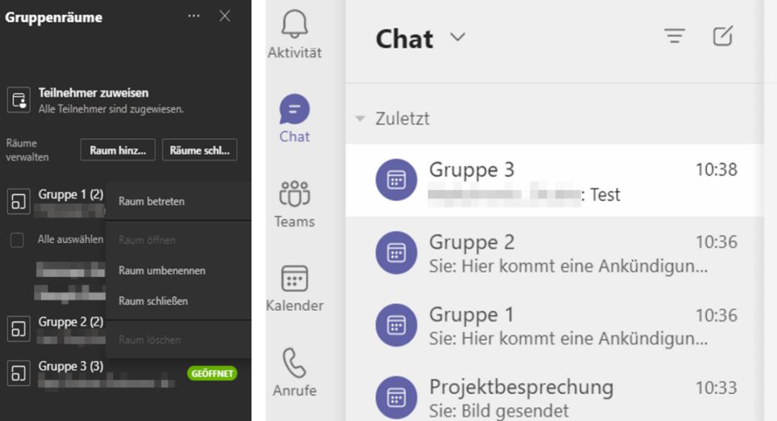 Screenshot Microsoft Teams: Chat der Gruppenräume und Übersicht über alle Gruppenräume