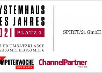 """Logo """"Systemhaus des Jahres 2021"""" Platz 4 in der Umsatzklasse über 50 Mio. bis 250 Mio."""